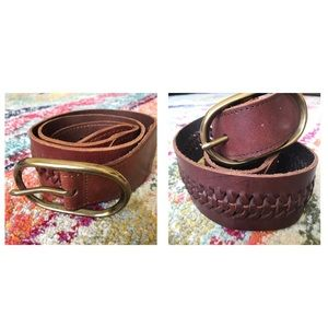 GAP M Boho Woven Leather Belts Brown Gold Buckle